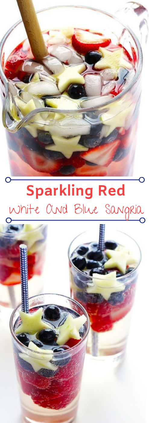 SPARKLING RED, WHITE AND BLUE SANGRIA #drink #easy #party #sangria #blue