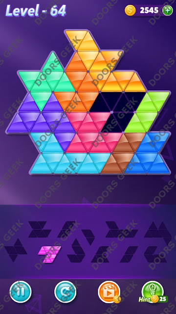 Block! Triangle Puzzle Challenger Level 64 Solution, Cheats, Walkthrough for Android, iPhone, iPad and iPod