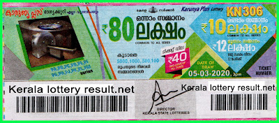LIVE: Kerala  Lottery Result 05-03-2020 Karunya Plus KN-306 Lottery Result