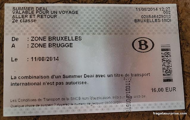 Passagem de trem para Bruges, Bélgica