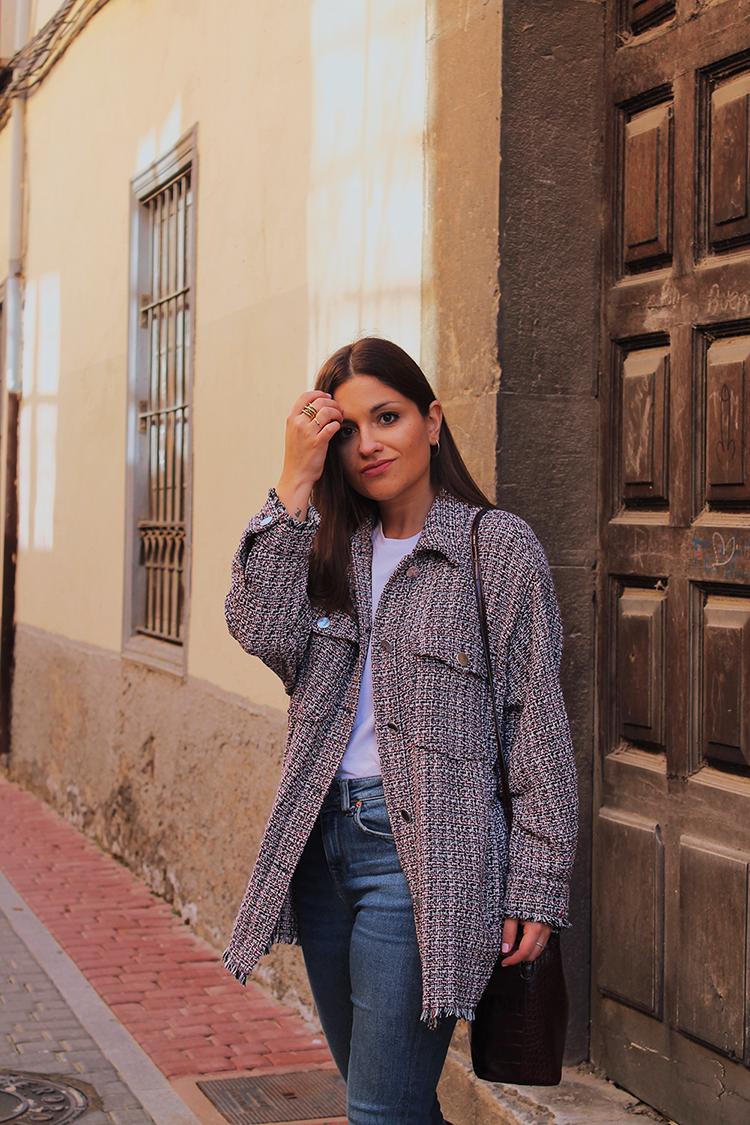Sobrecamisa tweed & botas altas blog moda