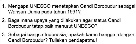 Soal Bahasa Indonesia Kelas 10-12 SMA/MA/SMK Tentang Candi Borobudur