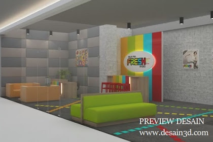 Design 3d lobby ruang siaran radio reception