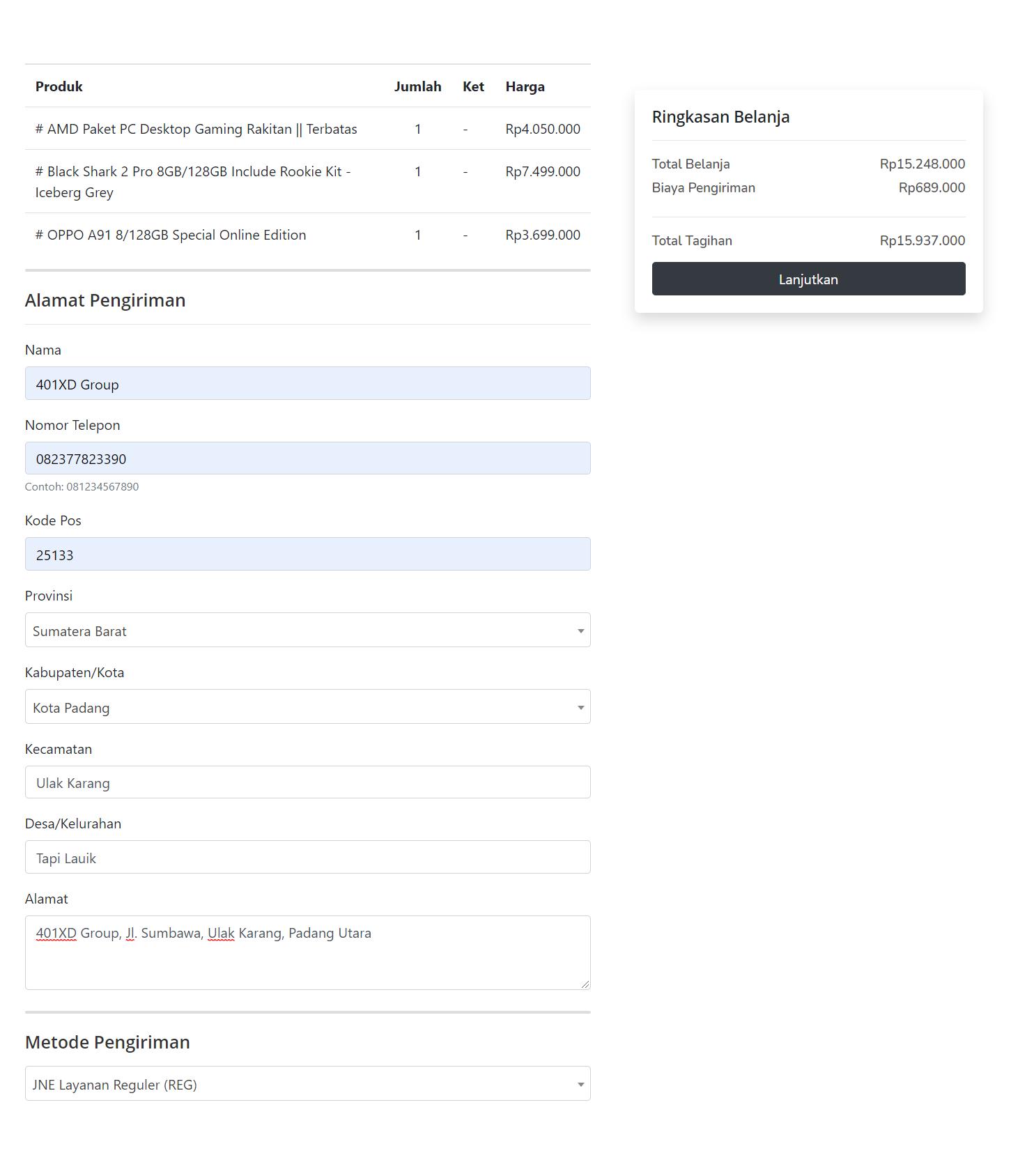 Toko online formulir checkout via wa
