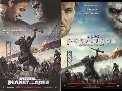 La locandina di ''Dawn of the planet of the apes'', in italiano ''Apes revolution - il pianeta delle scimmie''