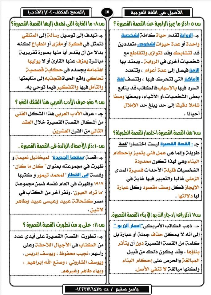 تلخيص الأدب في ١٠ ورقات لثالثة ثانوي وأهم الأسئلة المتوقعة في٢٠٢٠ أ/ ياسر سليم 21