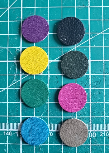 Leather rounds in different colors