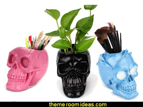 Skull Makeup Brush Holder Pen Holder Dressing Table Office Desk Storage Box Plant Flower Pot Halloween Skull