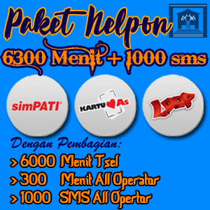 Paket Nelpon 6000 Menit Tsel + 300 Menti All Operator + 1000 SMS All Operator