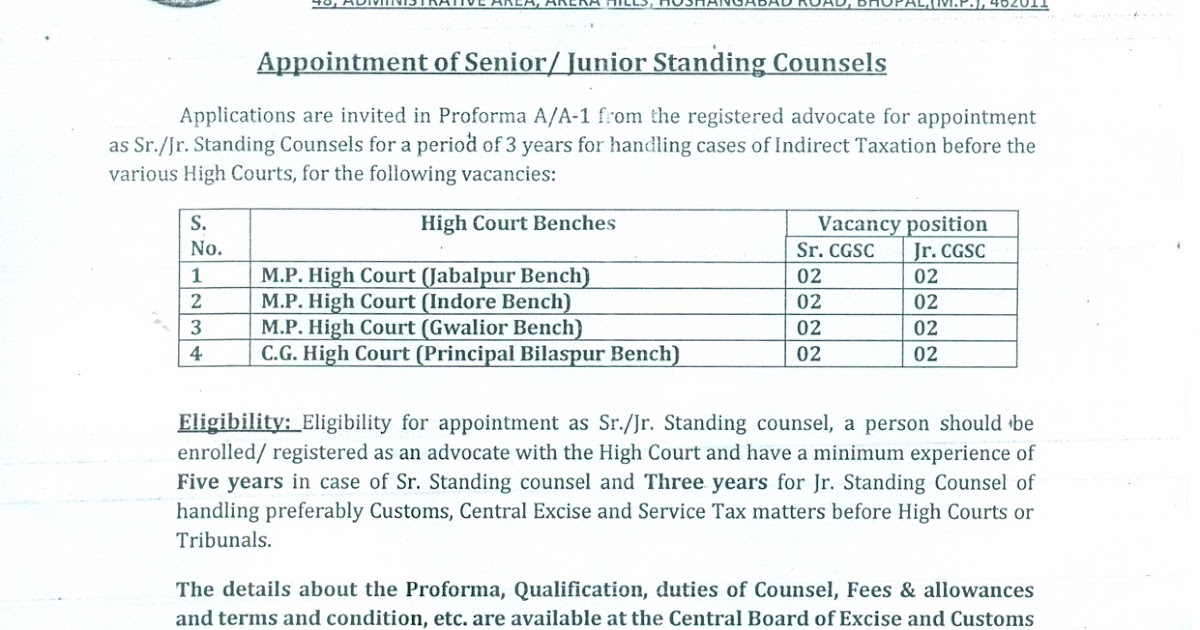 standing counsel appointment