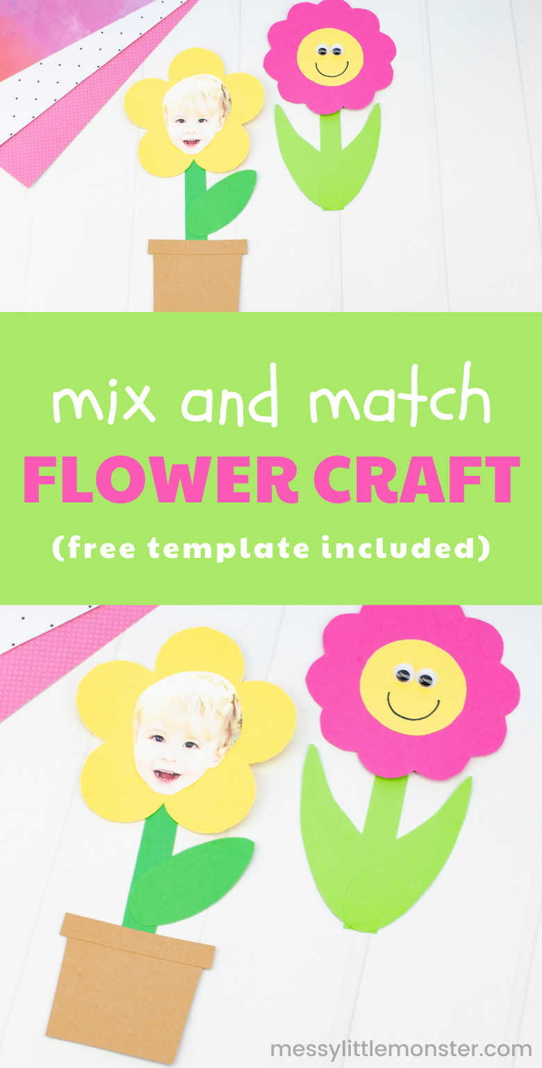 Mix and match flower craft for kids with printable flower template.