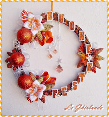 Ghirlanda Buone Feste Arancione Bronzo