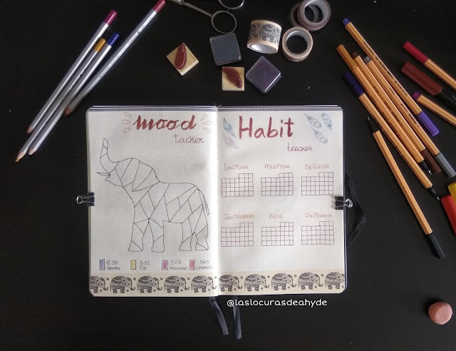 mood tracker y habit tracker bullet journal mayo 2020