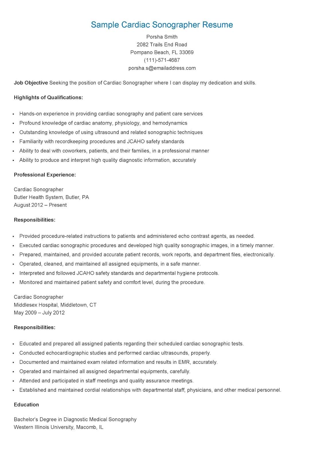 resume sles sle cardiac sonographer resume