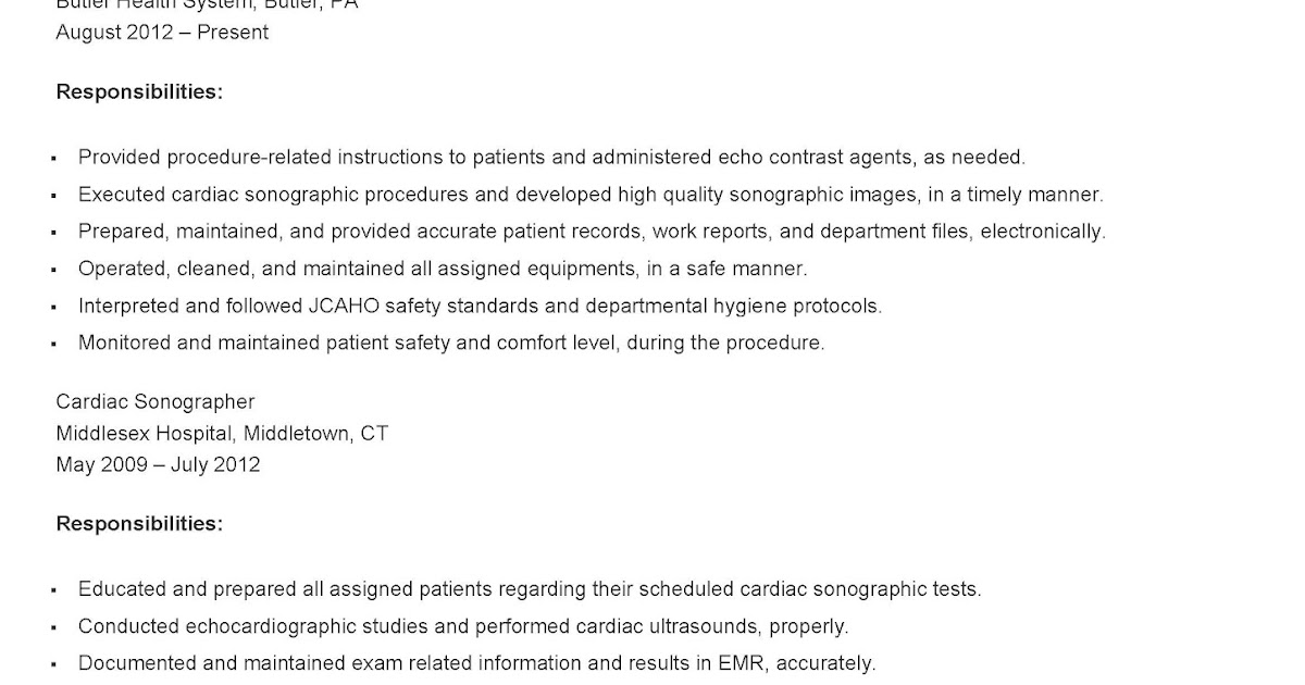 resume samples  sample cardiac sonographer resume