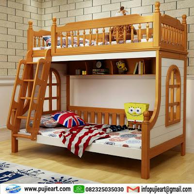 tempat tidur tingkat jati jepara untuk anak