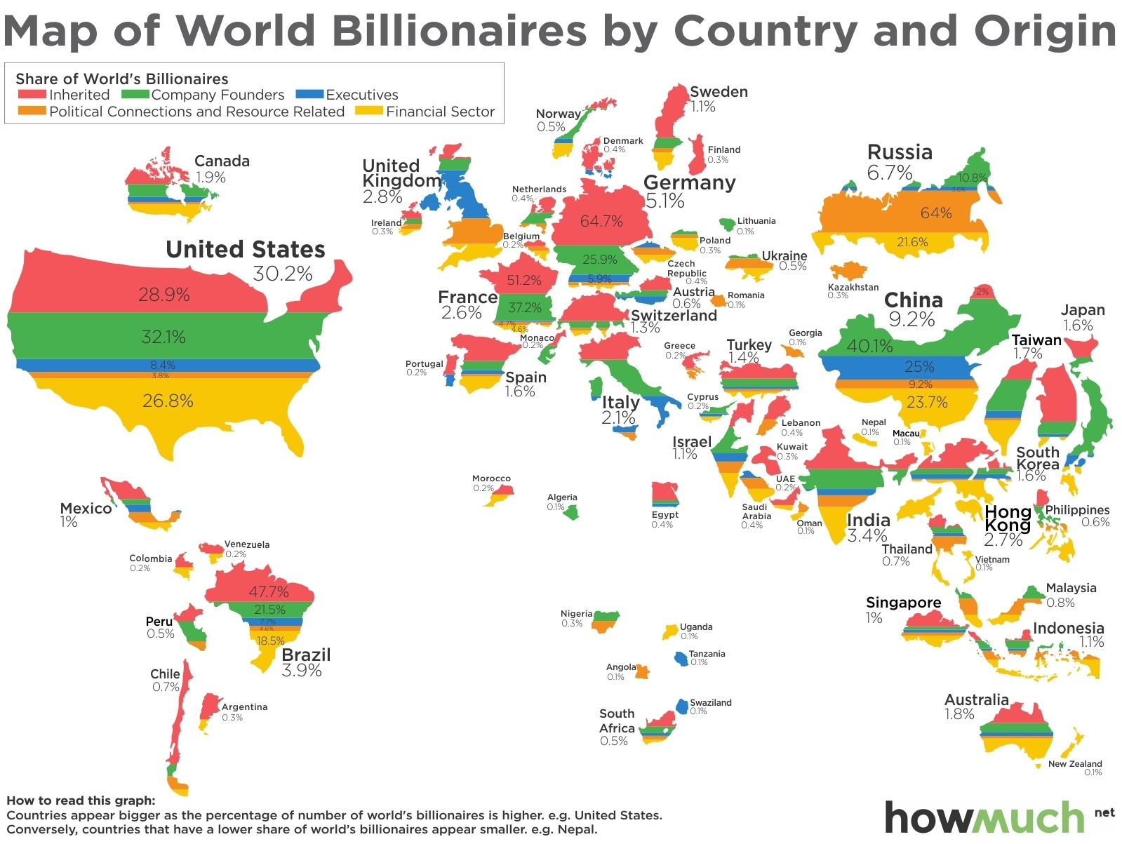 Map of world billionaires by country & origin