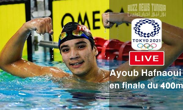احمد الحفناوي بث مباشر نهائي 400 متر سباحة حرة - Ayoub Hafnaoui Live Natation Finale 400 m NL JO Tokyo 2020