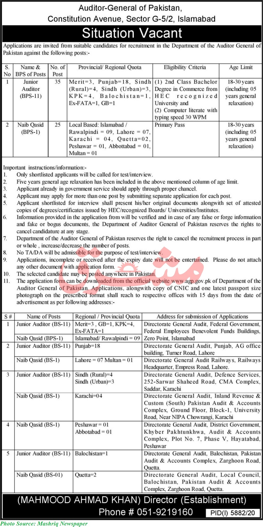 Auditor General of Pakistan Jobs 2021 - 60 Posts of Junior Auditors and Naib Qasid Download Application forms