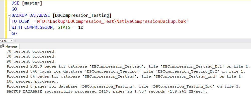 Compress Native Backup In SQL Server 2