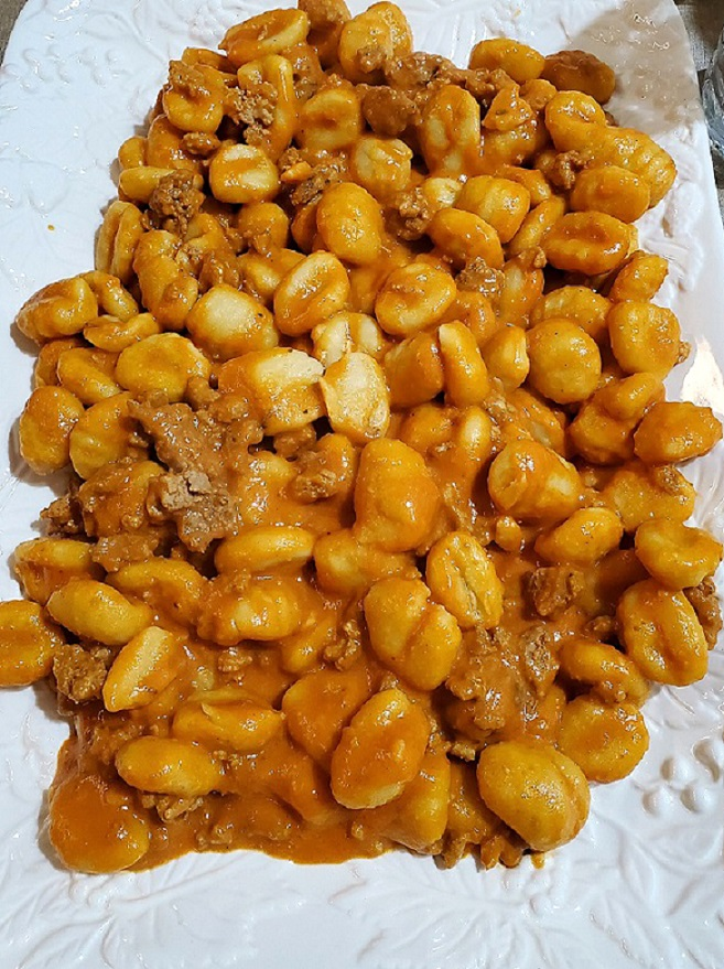 this is homemade gnocchi with sausage and vodka sauce