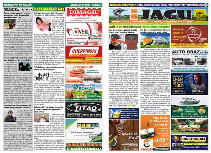 Leia na íntegra a Edição do 16º Aniversário do Informativo Pio do Jacu