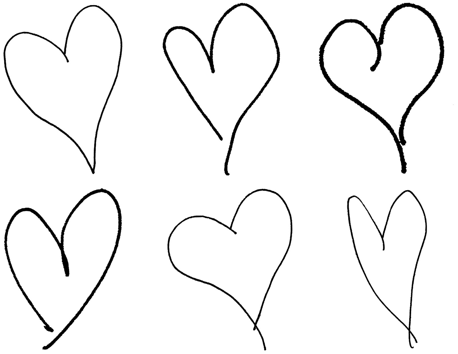 Digital Stamp Design Hand Drawing Hearts Royalty Free Valentine