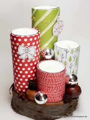 Weihnachtskerzengesteck mit bunten Upcycling-Papprollen-Kerzen Stampin' Up! www.eris-kreativwerkstatt.blogspot.de