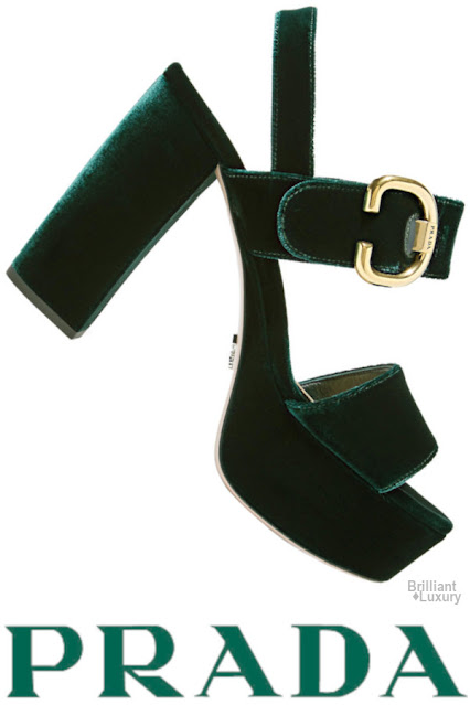 Prada green velvet platform sandals #brilliantluxury