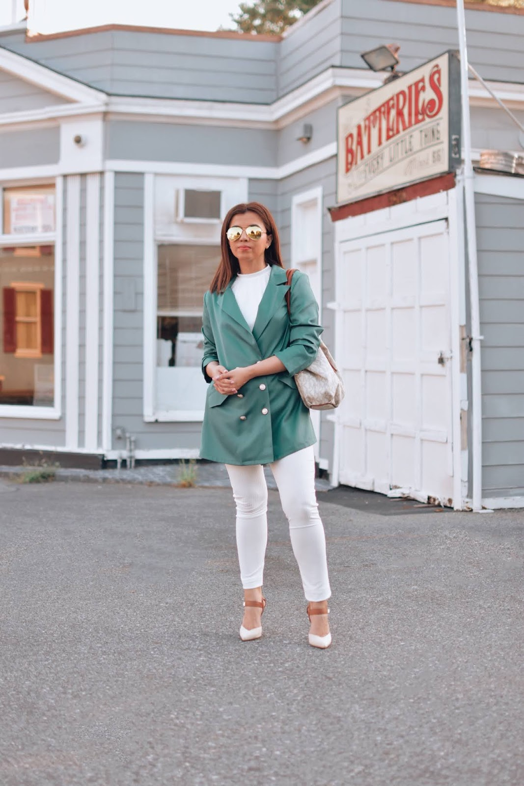 Como Combinar Un Blazer Verde En Verano-mariestilo-luxegal-blazer-streetstyle-