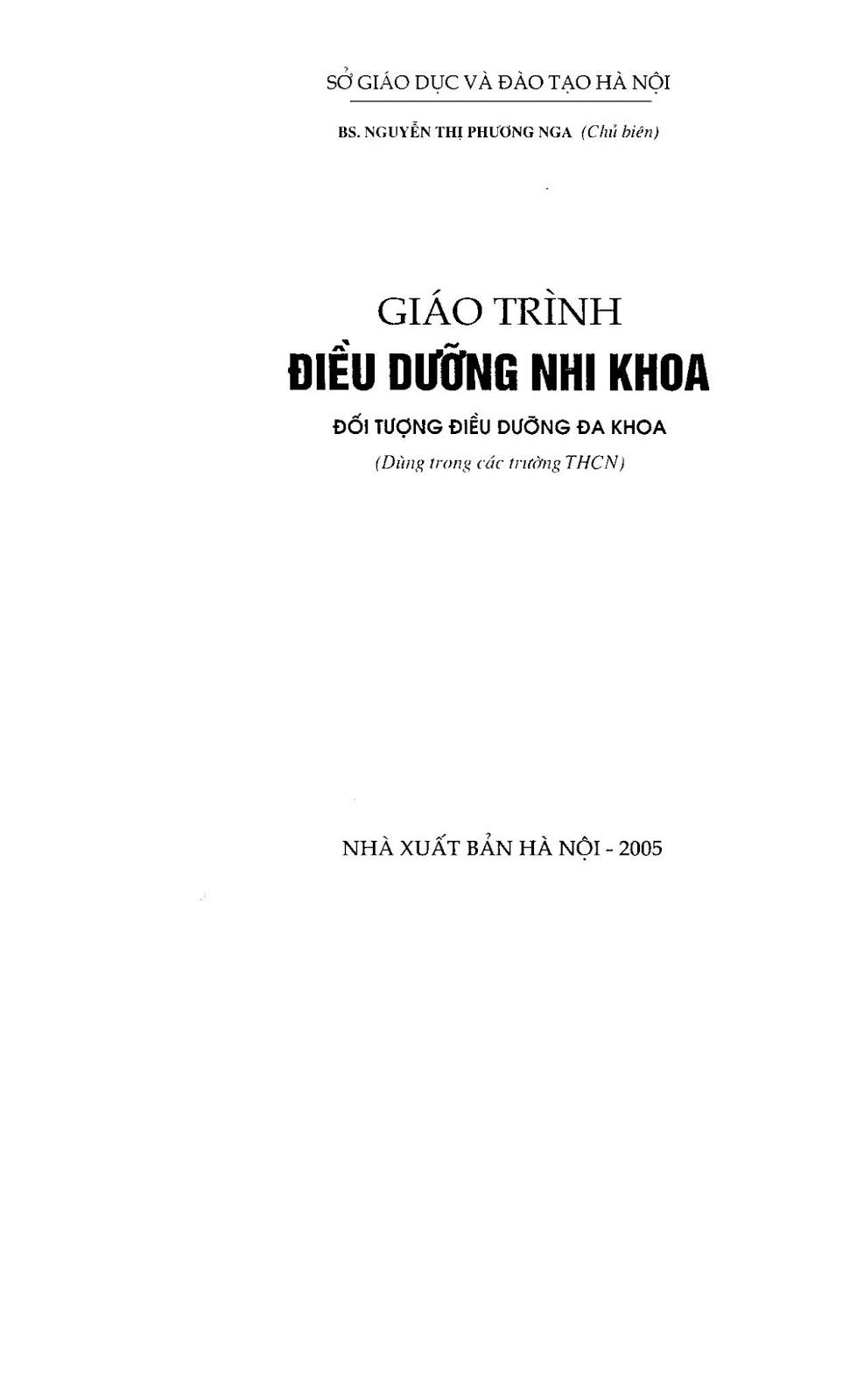 Trang 2 sach Giáo trình điều dưỡng Nhi khoa - NXB Hà Nội 2005