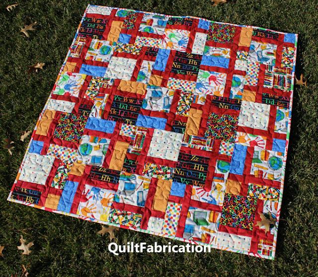 school fabrics in a baby quilt