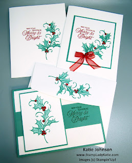 Christmas Cards with Stampin'Up!'s Joyful Holly Stamp Set