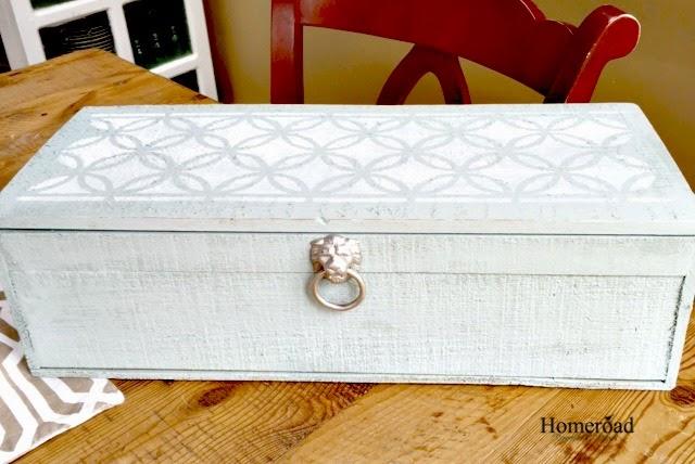 Lattice Stenciled Wooden Cigar Box