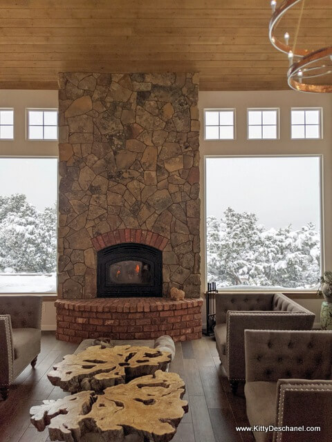 stone fireplace with brick