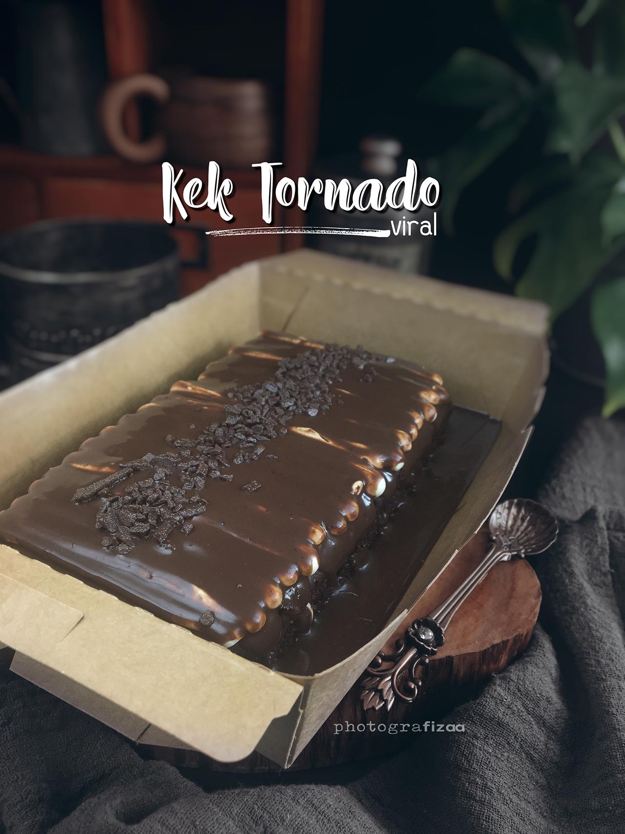 Kek Tornado Coklat Leleh Viral