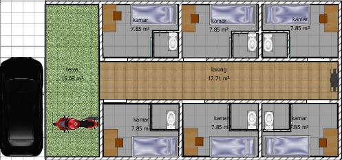 setiap kamar mempunyai luasan kotor 3 x 2 5 m dipotong mandi dalam sekitar 1 untuk menyiasati kos yang kecil maka kita harus pintar