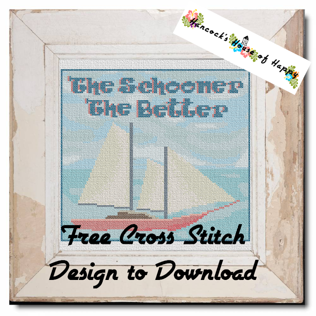 The Schooner the Better Free Sailing Nautical Cross Stitch Pattern to Download
