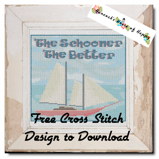 Nautical Daze! The Schooner the Better Free Sailing Nautical Cross Stitch Pattern to Download #crossstitch #xstitch