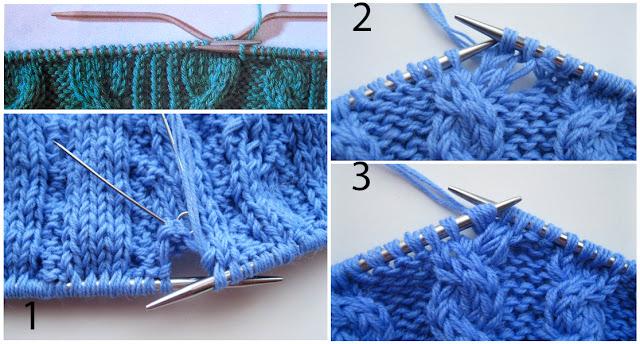 Этапы перекрещивания петель с наклоном вправо в аранском вязании.