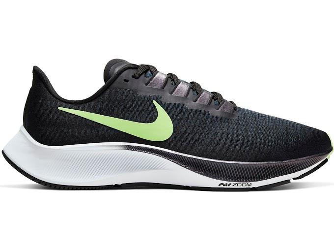 Nike Men's Air Zoom Pegasus 37 Running Shoes - Black Ghost Green Valerian Blue