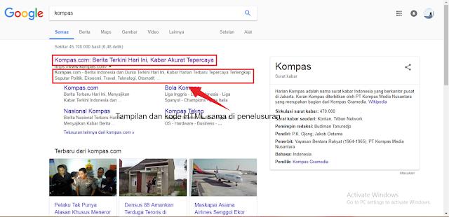 studi kasus yang dilakukan ke kata kunci kompas menunjukan HTML berpengaruh pada snippet deskripsi hasil penelusuran mesin pencari