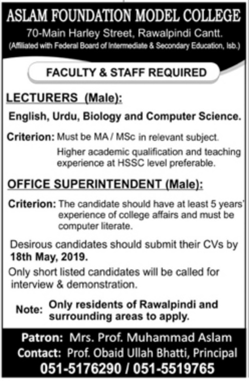 Aslam Foundation Model College Rawalpindi Jobs 2019 For Lecturer