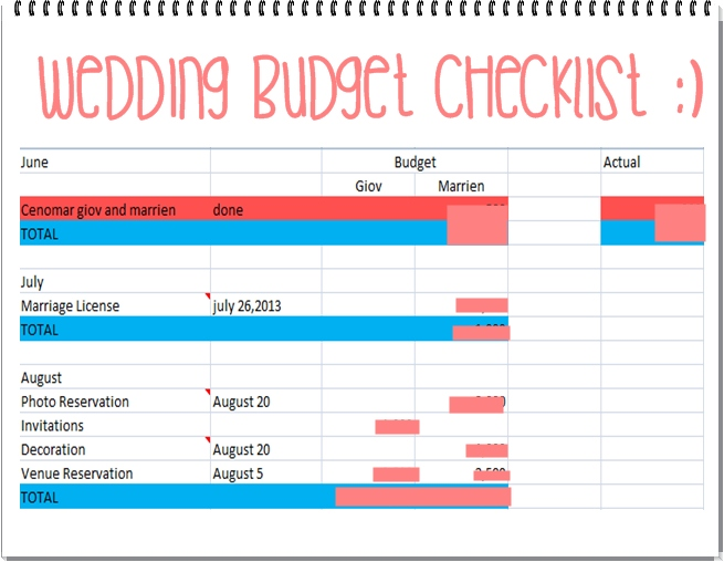 Wedding Preps Budget Checklist