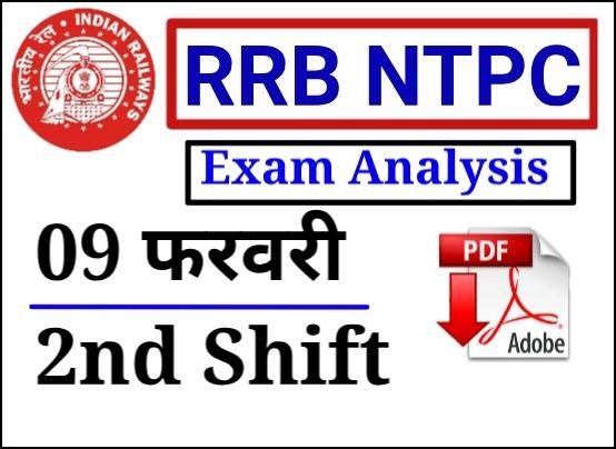 09 फरवरी 2021 RRB NTPC  Second  Shift GK Question Paper PDF Download
