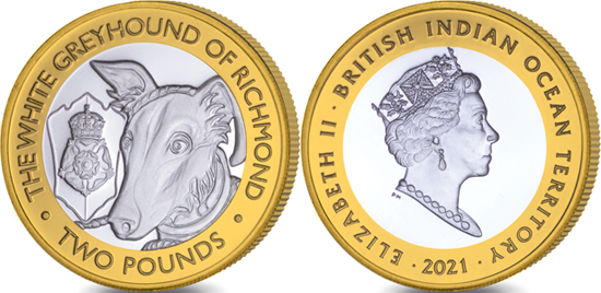 British Indian Ocean Territory 2 pounds 2021 - The Queen's Beasts - The White Greyhound of Richmond