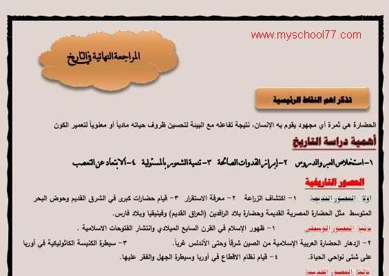 مراجعة التاريخ للصف الأول الثانوى ترم ثانى 2020 تشمل 200 سؤال وفقا للنظام الجديد أ. خالد خميس