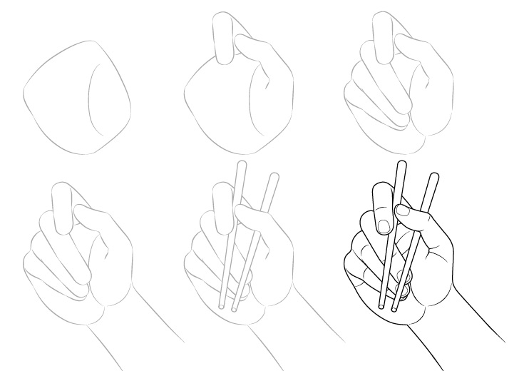 Tangan memegang sumpit gambar palm view selangkah demi selangkah