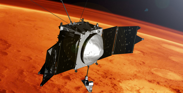 This artist concept shows the MAVEN spacecraft and the limb of Mars. Credits: NASA's Goddard Space Flight Center