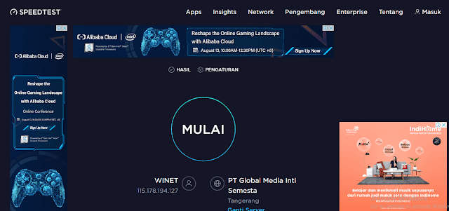 Tes kecepatan internet melalui speedtest.net